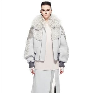 Marc Jacobs Pale Grey Bomber Jacket with mixed fur